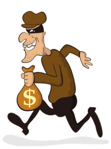 Tinman Series Funny cartoon thief running with a sack of money.